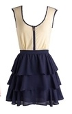 Tan and navy ruffle dress supercute bridesmaid: Ruffle Dress, Style, As, Dress Supercute