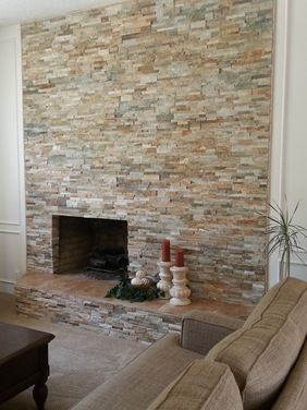 Golden Honey Ledger Stone Quartz Fireplace Ledger