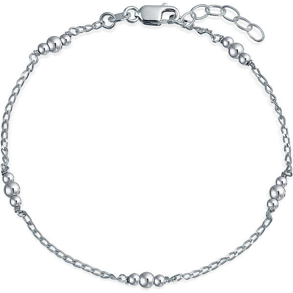 Ankle Bracelet Sterling Silver Ball Jewelry Beaded Summer Anklet ($21) ❤ liked on Polyvore featuring jewelry, bracelets, ankle bracelets, sterling silver ankle bracelets, beaded ankle bracelets, beading jewelry and sterling silver anklets