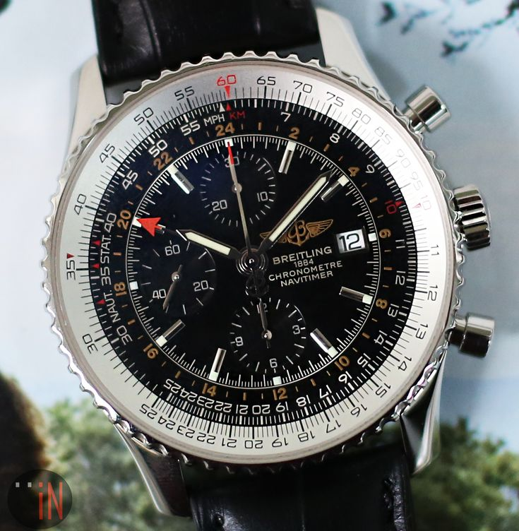"""A Branch Away!"" #Breitling 46mm #Navitimer World Stainless Steel  Ref#: A24322 * Released iN 2006 http://www.elementintime.com/Breitling-Navitimer-World-A24322-Stainless-Steel-Black-Dial-Used"