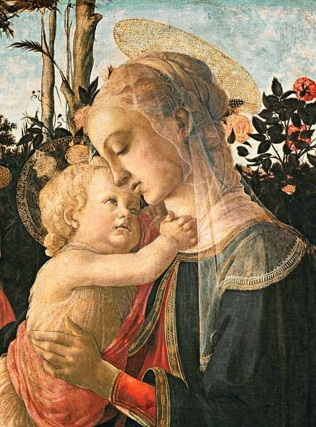Sandro Botticelli - Madonna and Child with St. John the Baptist, detail of the Madonna and Child (detail from 93886)