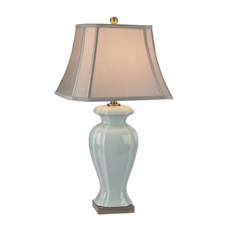 Celadon table lamp in glazed green ceramic with antique brass accents d2632 products pinterest antique brass and products