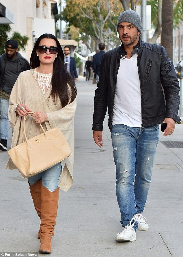 United front: Kyle Richards was spotted on an outing with husband Mauricio Umansky in Beverly Hills on Saturday