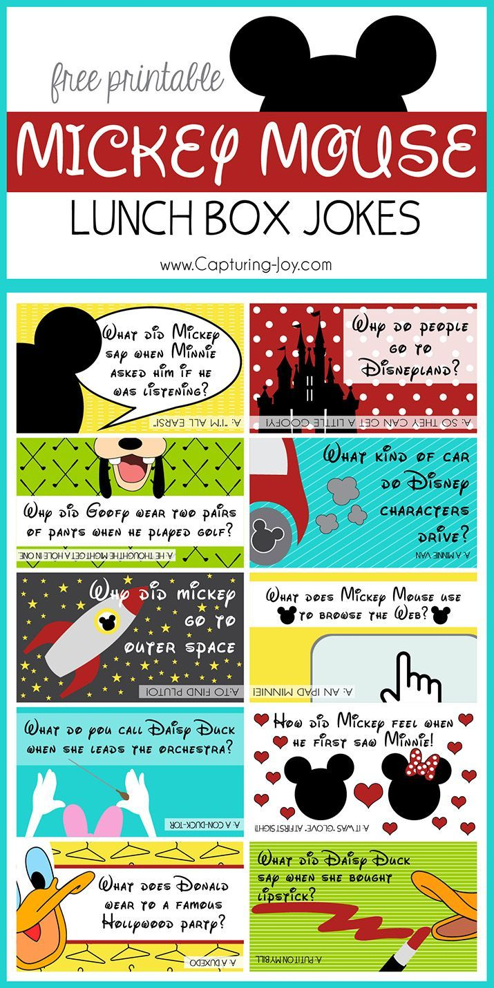 Kids love getting jokes in their lunches, here is a set of Mickey Mouse Jokes, to go along with others on this site