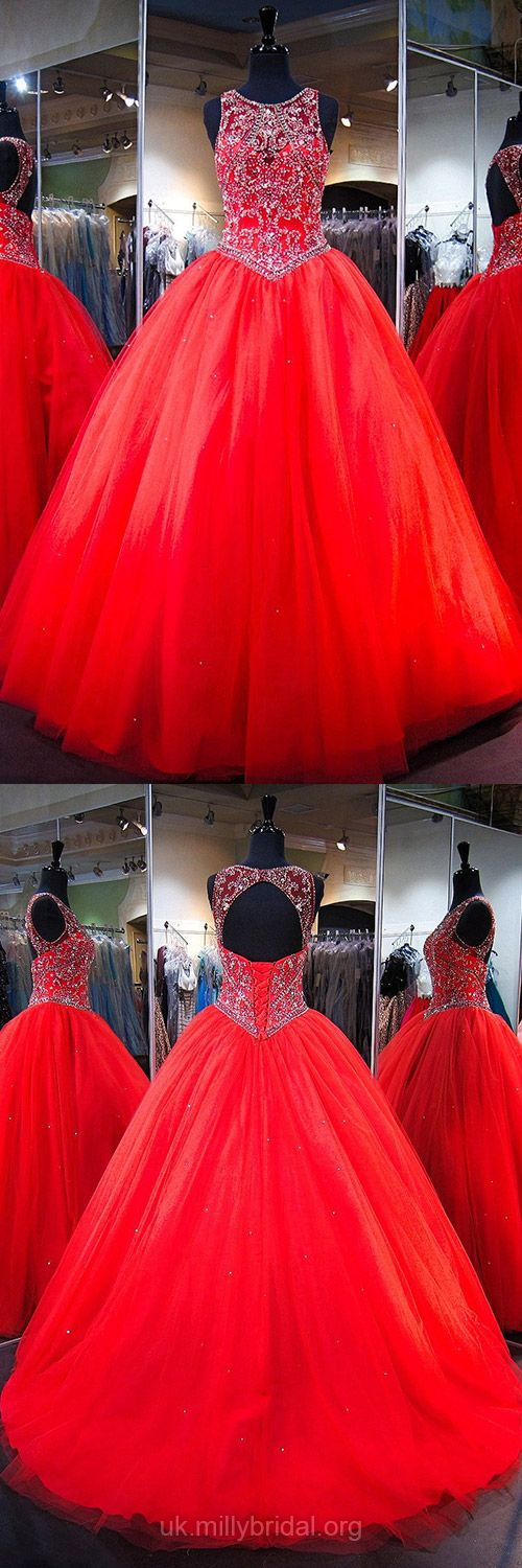 Red Prom Dresses Ball Gown, Sequins Formal Dresses Long, 2018 Party Dresses Scoop Neck,  Tulle Evening Dresses with Open Back