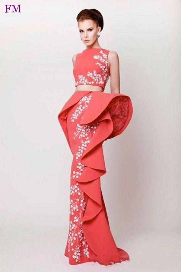 Pas cher 2016 arabe robes de soirée deux pièces Satin Coral soirée robes Appliqued gaine à volants volants longues robes formelles W010804, Acheter  Robes de soirée de qualité directement des fournisseurs de Chine:                            Bienvenue à notre magasin                                                           No