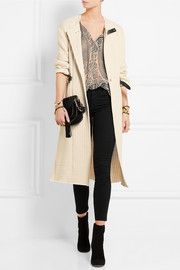 Gabin leather-trimmed quilted cotton jacket