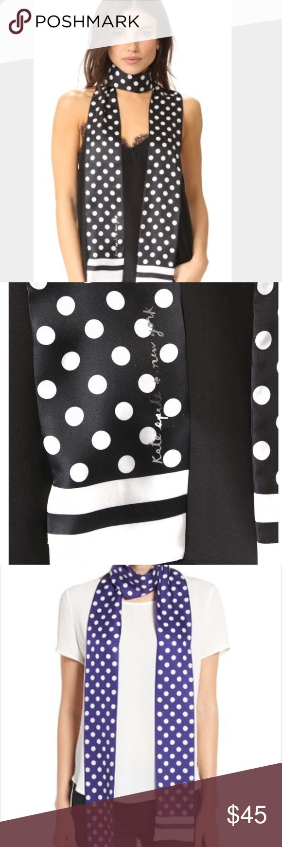 """NWTs Kate Spade Blue White Polka Dot Skinny Scarf Add a retro twist to any look with a long skinny scarf! 4"""" x 102"""" 100% Silk.  Perfect for summer! Black is sold out only Indigo Blue left! kate spade Accessories Scarves & Wraps"""