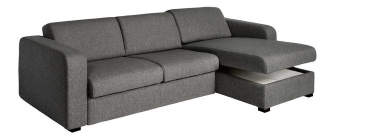 Porto 3 - Canapé-lit 2 places en tissu avec angle réversible et rangement - Habitat