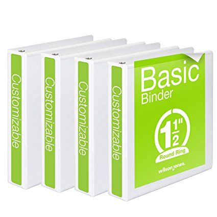 Wilson Jones 3 Ring Binder 1-1/2 Inch, Round Ring View Binder, Basic, 362 Series, Customizable, White, 4 Pack (W70362-34WPP)