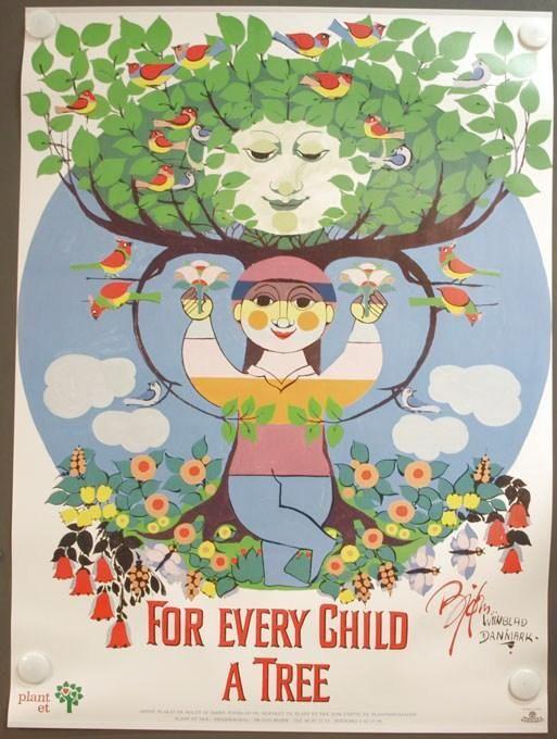 Bjørn Wiinblad - For every child a tree plakat