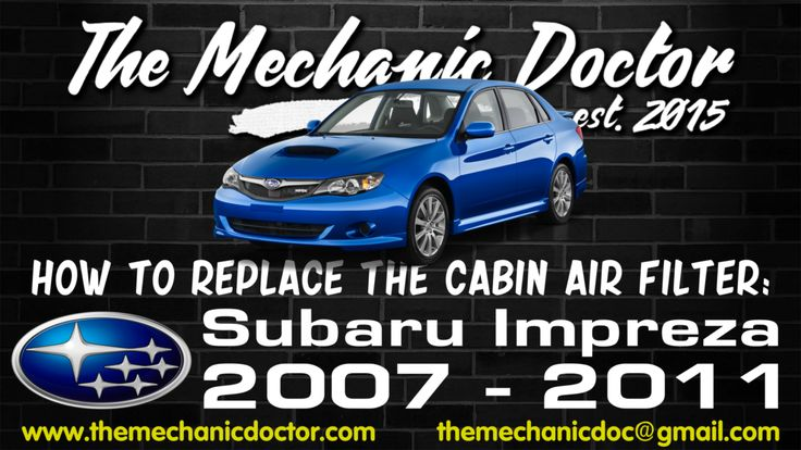 This video will show you step by step instructions on how to easily replace the cabin air filter on a Subaru Impreza 2007 - 2011.