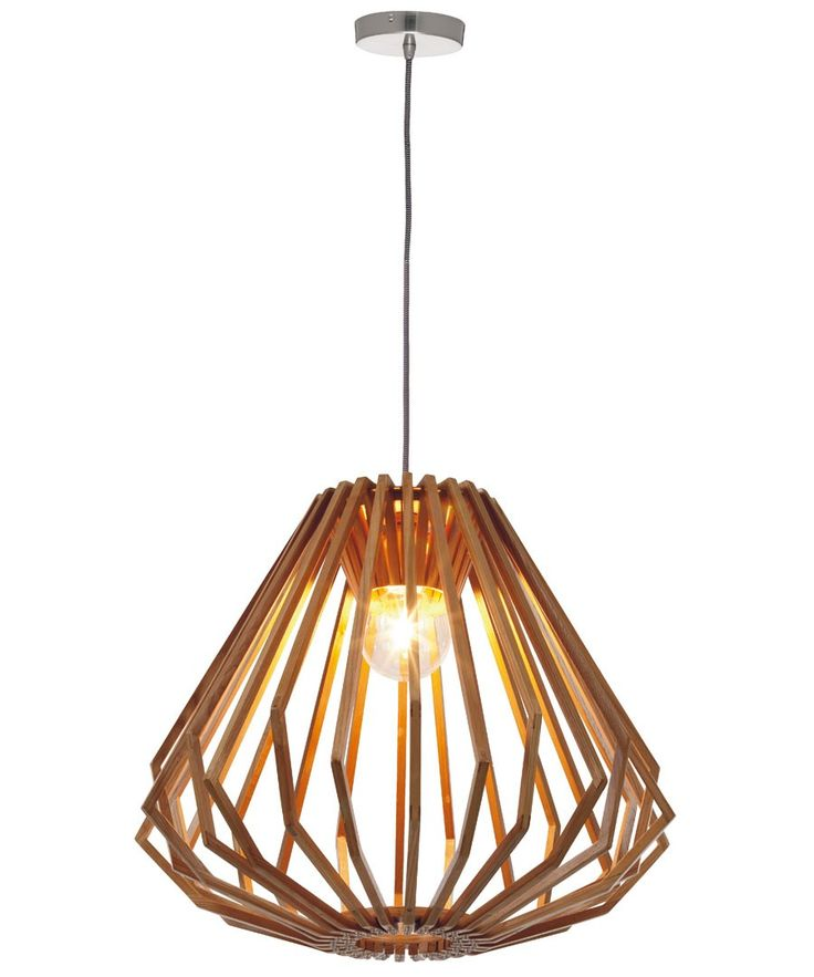 Stockholm 1 Light Squat Flair Pendant in Natural Wood