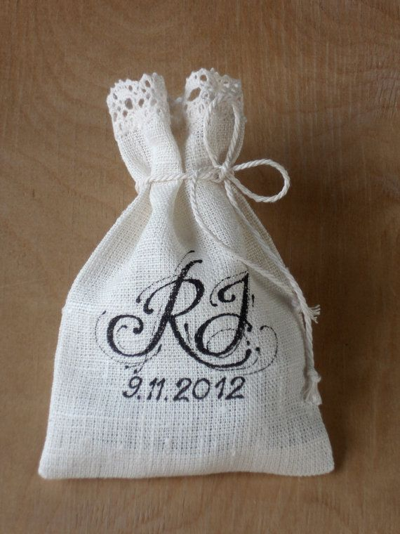 Striped linen burlap gift bags with lace, wedding favor sachets set of 30 gray and ivory candy bar bags. $55.00, via Etsy.