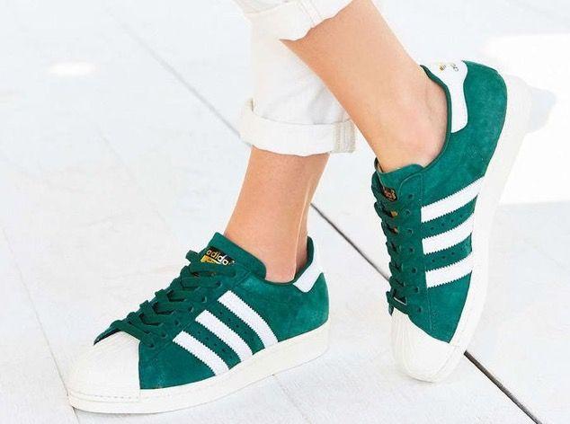 Green, White & Gold adidas Originals Superstar Shoes