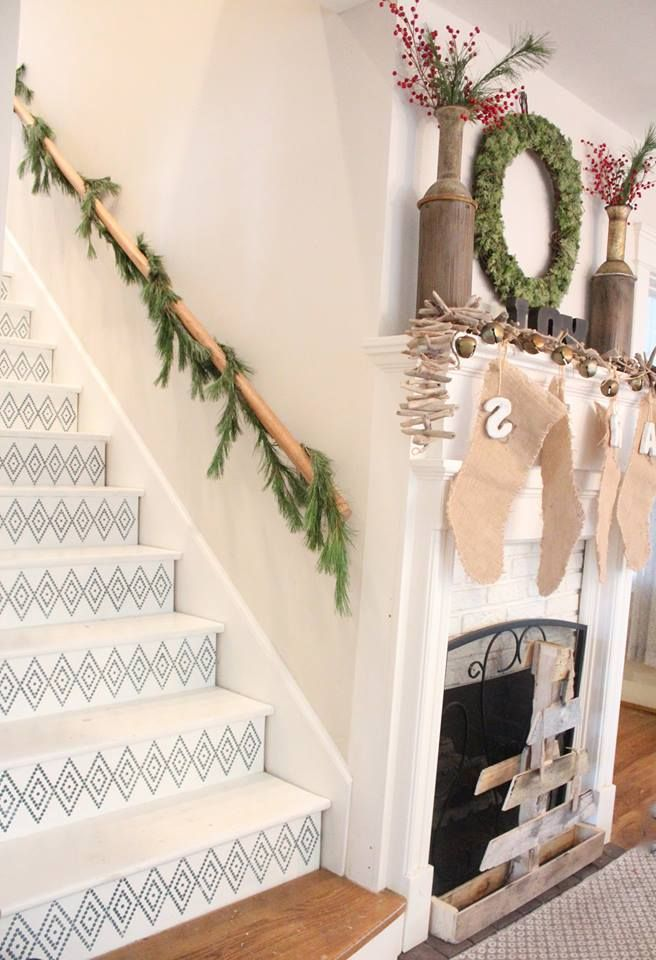 RISE UP the the occasion and stencil your stairs! We can't get enough of these high gloss stenciled stairs - DIY painted stairs and pattern with Hexagons Border Moroccan Stencils