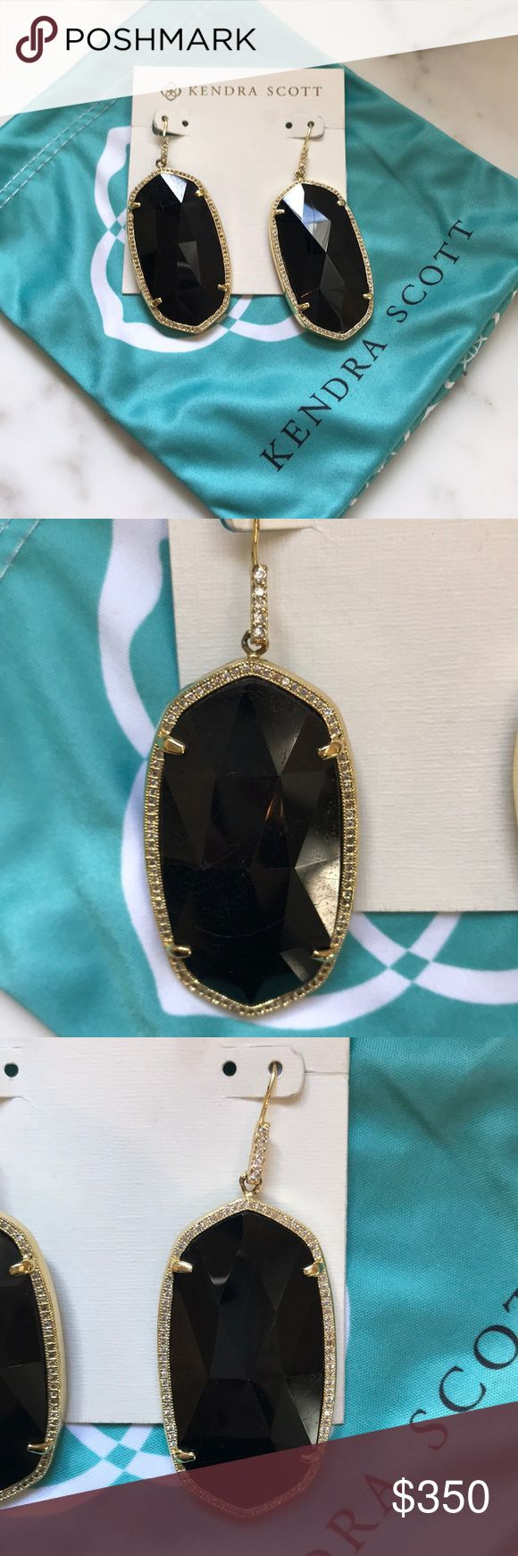 Kendra Scott Jamie Lux Tourmaline Earrings Black Tourmaline Kendra Scott Jamie Lux earrings in perfect condition. These are too heavy for my ears and have only been tried on. Listing for the last price paid for the same earrings but open to fair offers. No trades. Subtle irregularities in the stones are natural. They have a black shine and none of the pave diamonds are missing. Kendra Scott Jewelry Earrings