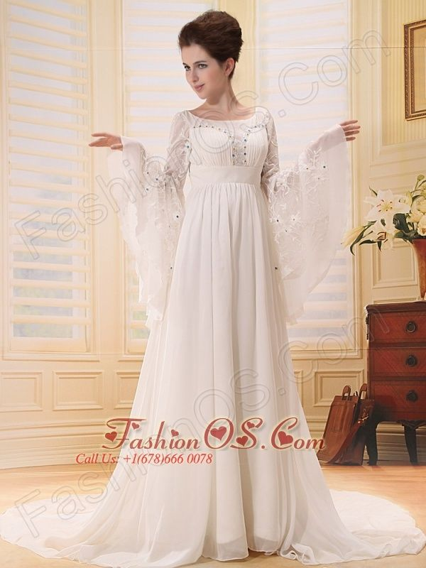 10 best images about traditional wedding dresses with long for Flowy wedding dress with sleeves