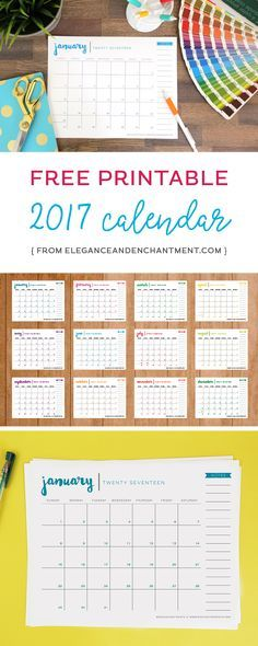 Download this free printable 2017 calendar, and stay organized all year long! The size is conveniently set at 8.5 x 11 so there is no trimming required. Just print and enjoy. Design from Elegance and Enchantment.