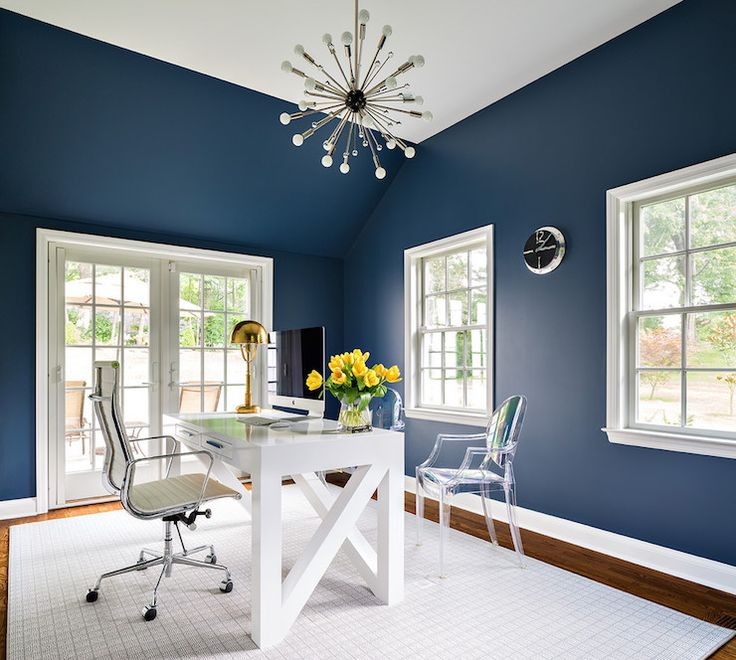 Den Library Office: 25+ Best Ideas About Blue Office On Pinterest