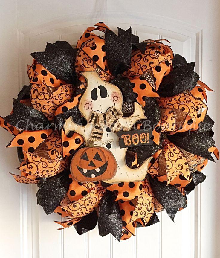 Halloween Wreath, Ghost Wreath, Burlap Wreath, Pumpkin Wreath, Boo Wreath, Halloween Decor, Halloween Decoration, Pumpkin Decor, Ghost Decor by CharmingBarnBoutique on Etsy