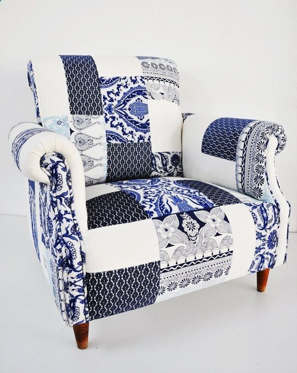 blue  white porcelain patchwork armchair.a little outta my price range now I gotta learn how to reapolster furniture too, great! Theres a Pin for that! lol