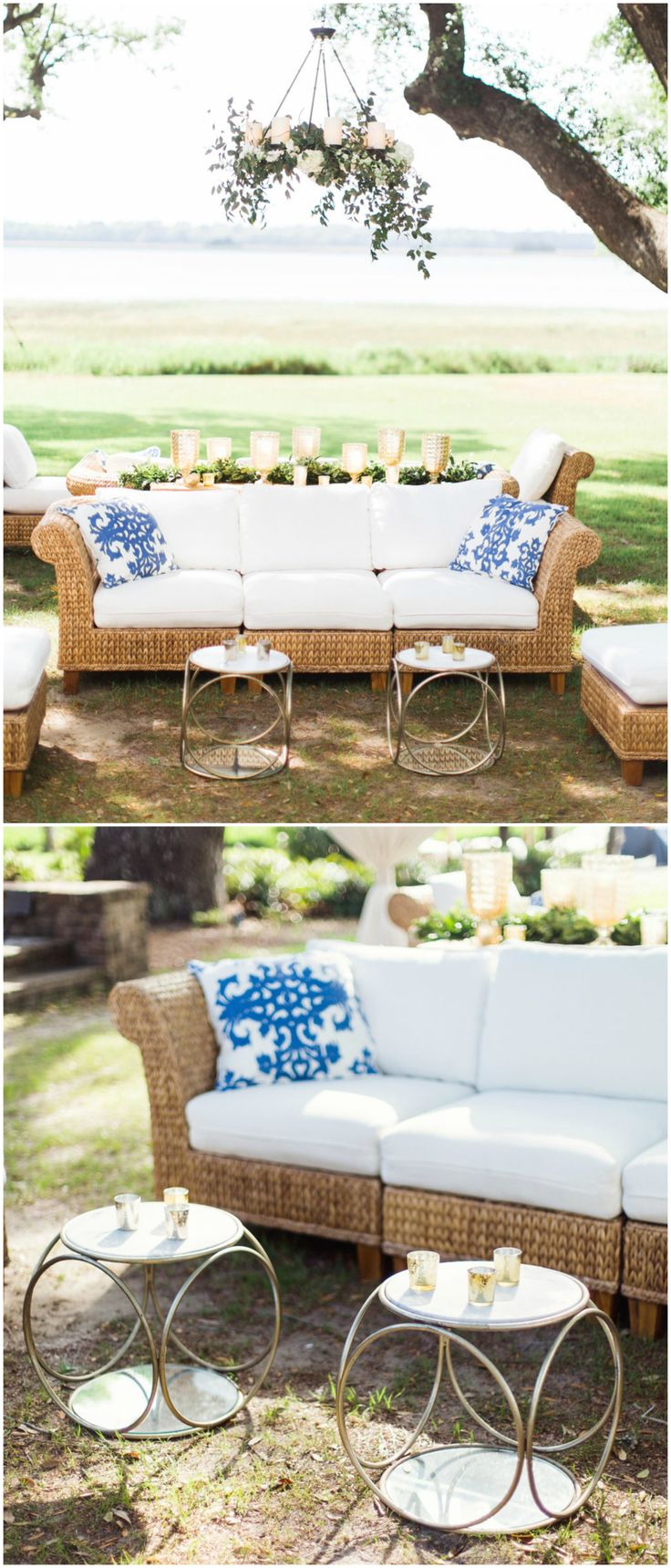 Outdoor Wedding Reception Furniture, Charleston Wedding, Wicker Couches,  White Cushions, Bright Blue