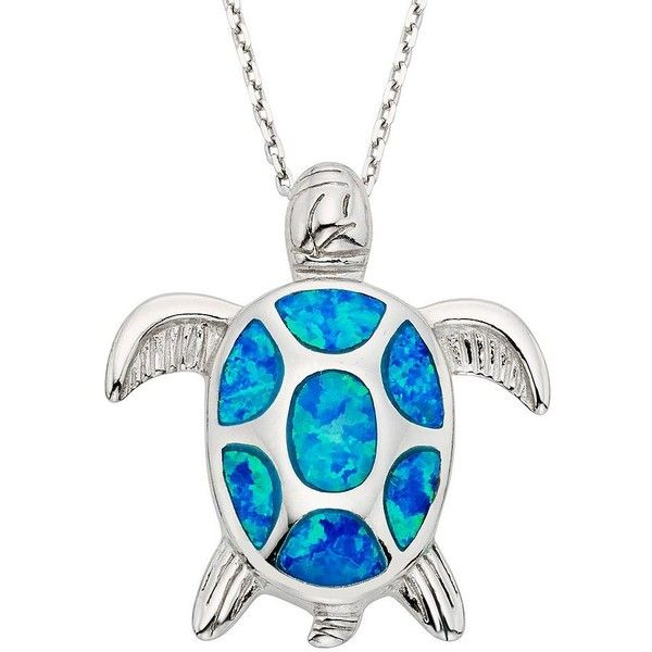 Lab-Created Blue Opal Sterling Silver Turtle Pendant Necklace found on Polyvore