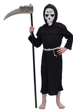 Halloween kostuum Magere Hein kind  Kinder kostuum Magere Hein. Zwart kostuum voor kinderen van Magere Hein / De Dood. Dit kostuums is exclusief zeis en inclusief masker.  EUR 21.95  Meer informatie  #Halloween