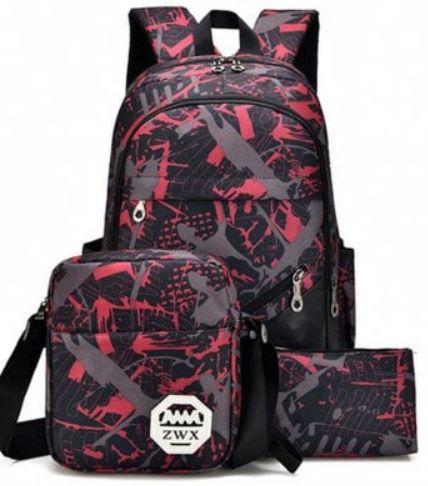 Men's Backpack Set 3Pcs Canvas Brief Large Capacity Preppy Backpack  $34.34