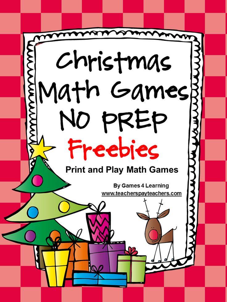 NO PREP Christmas Math FREEBIES from Christmas Math Games No Prep Freebies by Games 4 Learning - 2 printable Christmas Math Game Sheets.