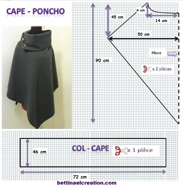 Bettinael.Passion.Couture.Made in france: DIY: Cape/ Poncho, tutoriel couture gratuit                                                                                                                                                      Plus