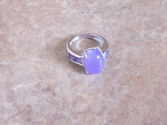 Purple Quartz Oval Cabochon and Sterling Silver Modern Style Ring - Size 6