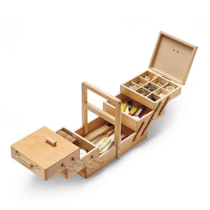 Sewing boxes. From Franconia. For more than 50 years, crates and boxes, cases and wooden packaging have been produced in the Franconian forest - including these well-made sewing boxes with mortise and tenon joints, which are fitted with wooden handles for us.
