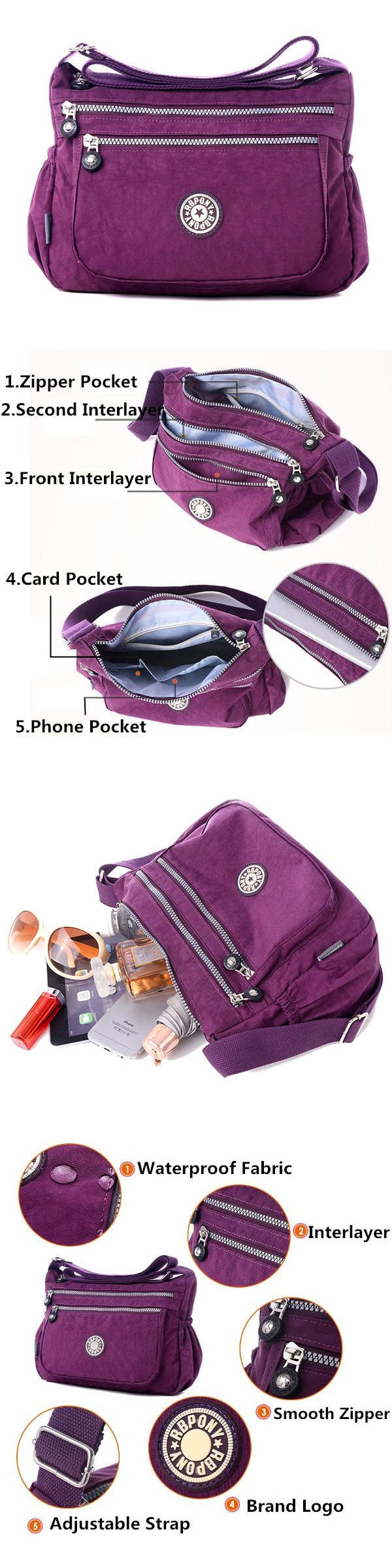 $14.89 Women Nylon Waterproof Crossbody Bag