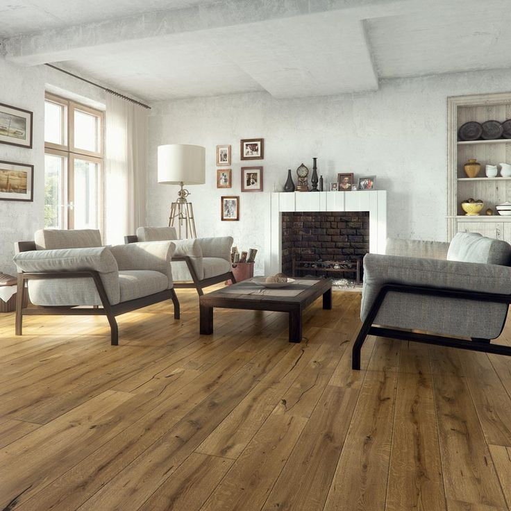 Barlinek Oak St Vincent is an engineered plank floor with a brushed, walnut coloured stain with a natural oil finish. This oak wood floor looks especially good in a modern setting despite the vintage appearance.
