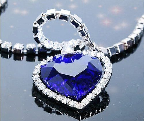 Titanic, Heart of Ocean Alloy Blue Sparkling Rhinestone Crystal Diamond Necklace Chain Pendant Necklace Neewer:
