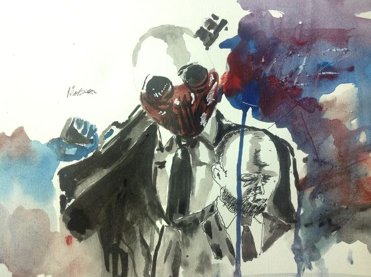 A sick Water Colour Thing of my Favourite Character In Payday 2. Wolf
