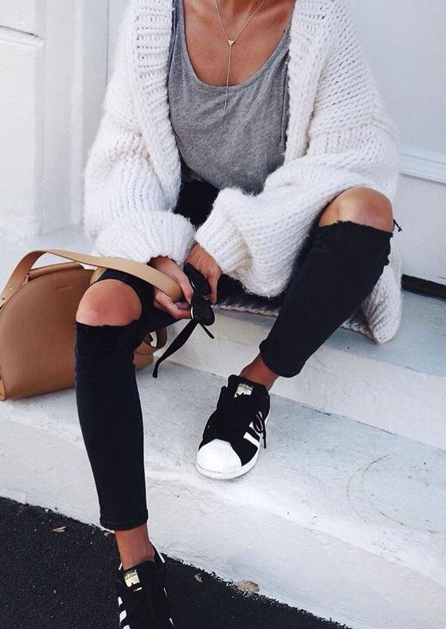 Street style, casual outfit, spring chic, summer chic, white cardigan, gray tee, black ripped jeans, black Adidas sneakers