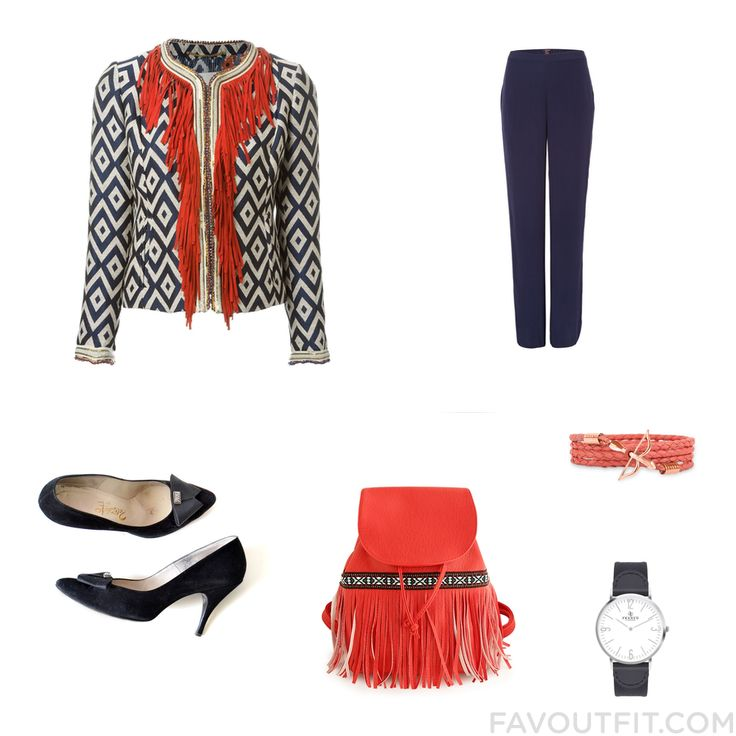 Shopping Inspiration Including Bazar Deluxe Jacket Navy Blue Pants Pumps And Fringe Bag From April 2016 #outfit #look