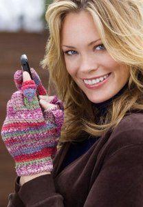 Crocheted Striped Texting Gloves | AllFreeCrochet.com