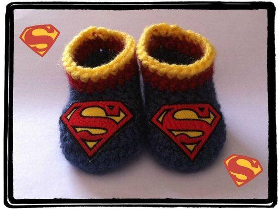 Superman Baby Booties Superman Baby Shower by HaldaneCreations
