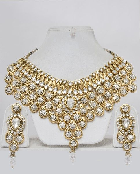 Indian Bridal Jewelry Set-Heavily Embellished - Click Image to Close