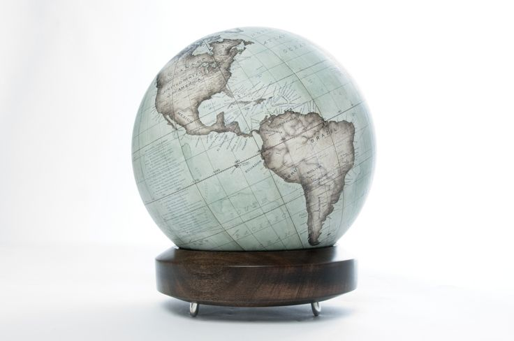 Bellerby & Co Globemakers, Mint Green Mini Desk Globe and Handcrafted London Plane Wood Base, www.bellerbyandco.com
