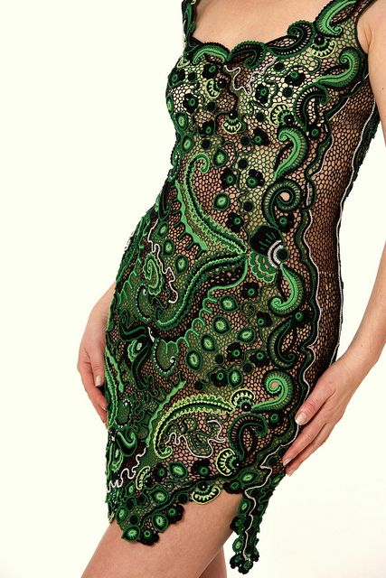 Irish crochet... this is beautiful...granted.. i'm thinking if I make this it will definitely be a bit more modest...