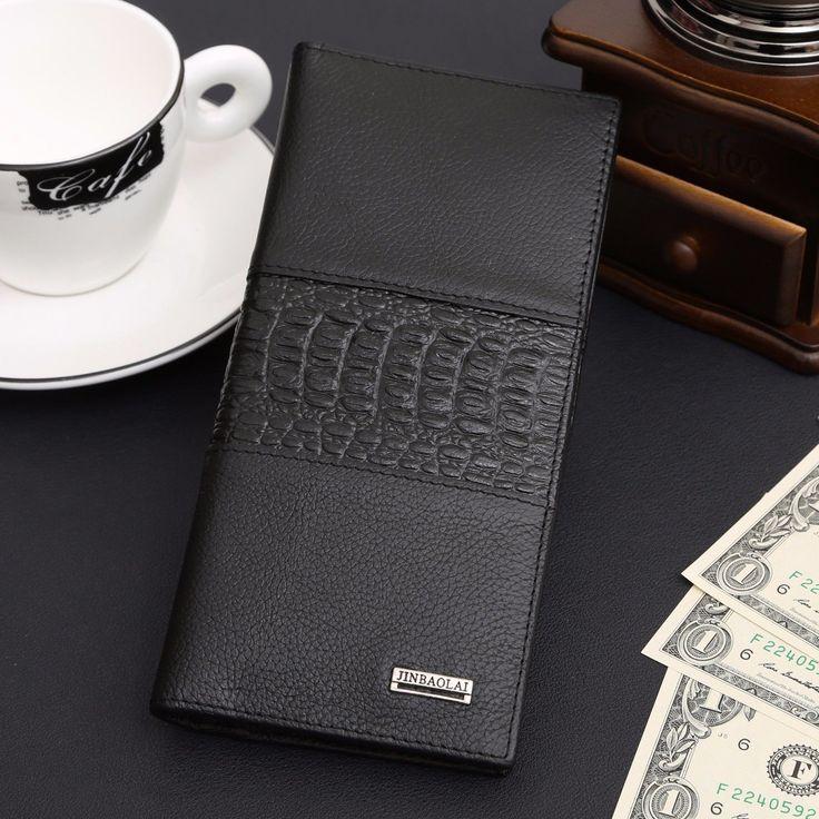 nice Long Men's Genuine Leather Bifold Wallet ID Card Holder Clutch Checkbook Handbag   Check more at http://harmonisproduction.com/long-mens-genuine-leather-bifold-wallet-id-card-holder-clutch-checkbook-handbag/