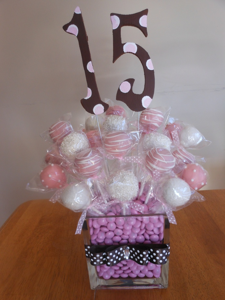 15th birthday party cake pop bouquet made by Amy at www.facebook.com/misscakepop.
