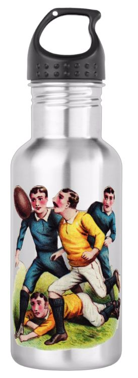 Victorian Rugby - Water Bottle. Your Rugby Water Bottle (18 oz), Stainless Steel, with a vintage Victorian die-cut design http://www.zazzle.com/victorian_rugby_water_bottle-256549352802905870 #rugby #gift #waterbottle #sport #vintage