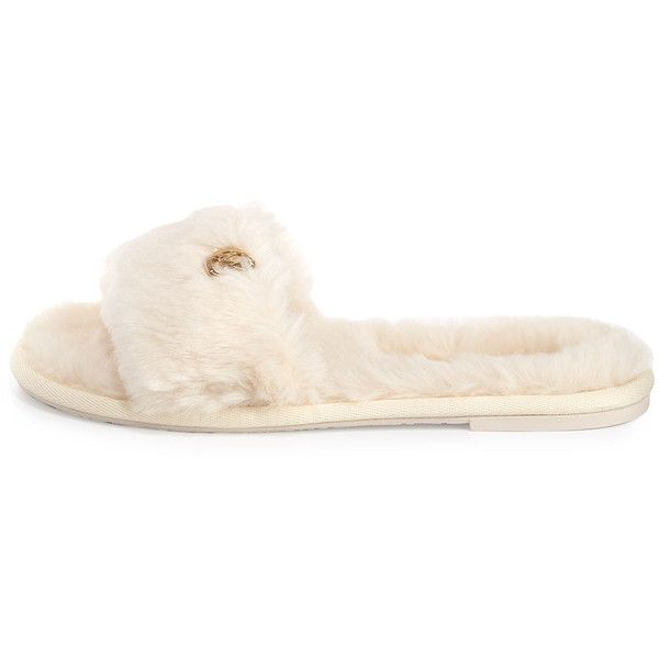 MICHAEL Michael Kors Jet Set Faux-Fur Slide Sandal, Off White ($48) ❤ liked on Polyvore featuring shoes, sandals, special occasion shoes, evening shoes, evening sandals, off white shoes and cocktail shoes