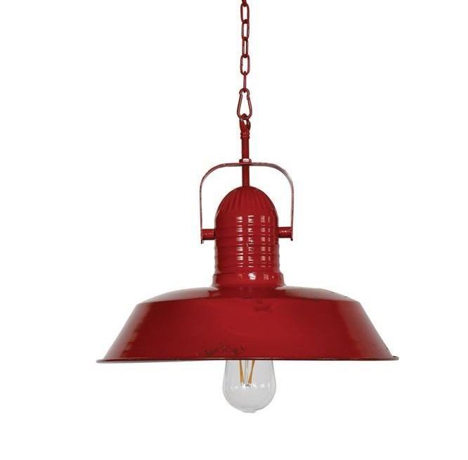 Vintage Chic Red Metal Pendant Light Co Hinh ảnh